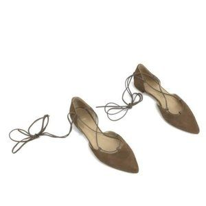 Stuart Weitzman brown leather lace pointed flats
